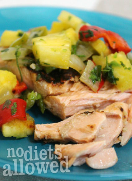Salmon with Sweet-and-Spicy Salsa- No Diets Allowed