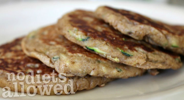 Zucchini Banana Bread Pancakes- No Diets Allowed