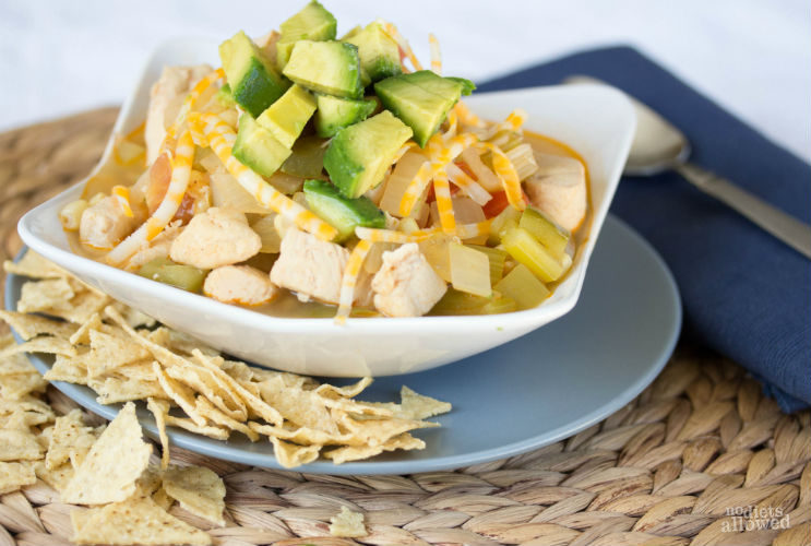 easy chicken tortilla soup recipe- No Diets Allowed