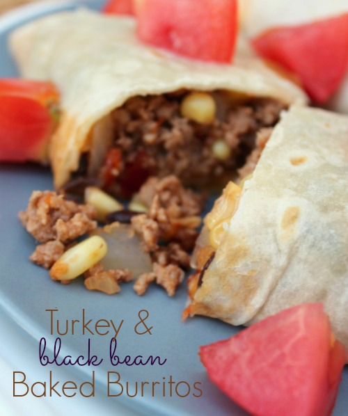 Turkey and Black Bean Baked Burritos- No Diets Allowed
