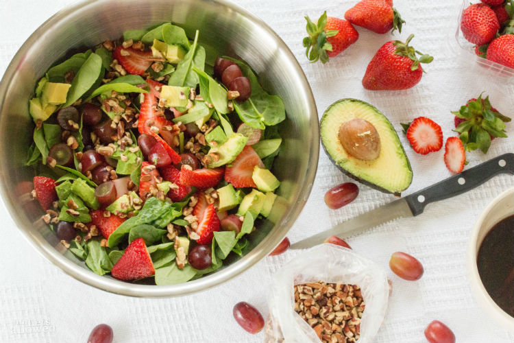 easy strawberry spinach salad- No Diets Allowed