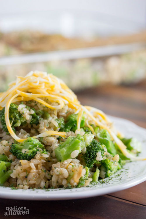 broccoli and cheese rice casserole - No Diets Allowed