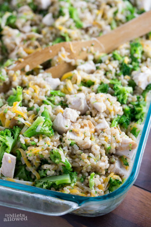 chicken broccoli rice cheese casserole - No Diets Allowed
