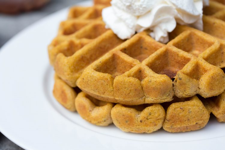 Pumpkin Spice Waffles Mix Recipe - No Diets Allowed #Food #Foodie #Waffles