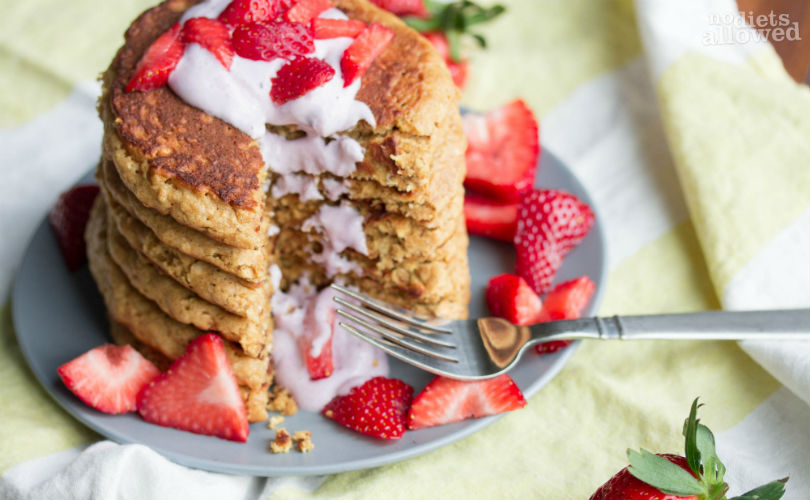fluffy whole wheat pancakes- No Diets Allowed