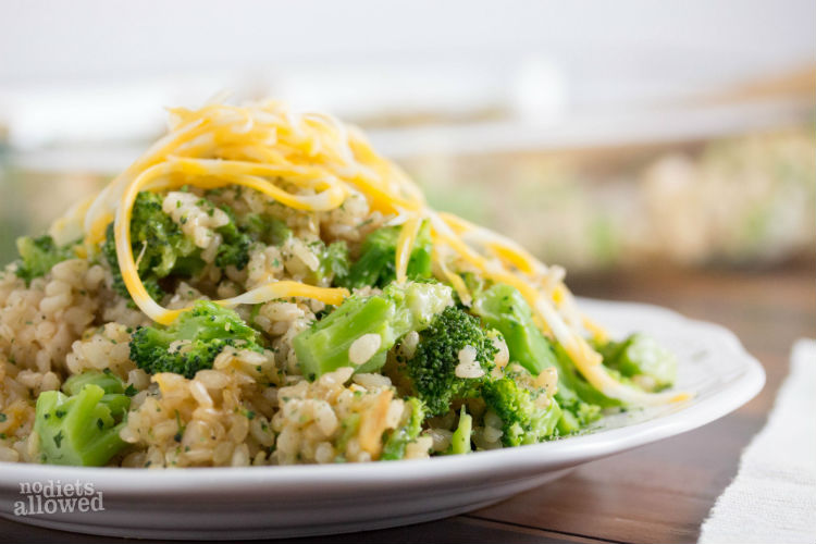 easy broccoli cheese rice casserole - No Diets Allowed