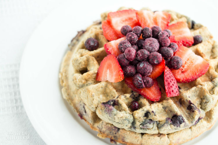 blueberry waffles healthy recipe - No Diets Allowed