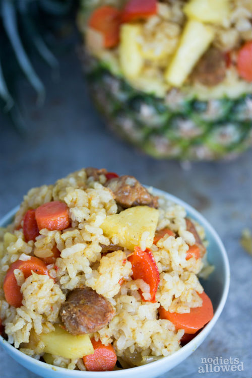 pineapple chicken fried rice - No Diets Allowed