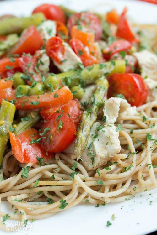 chicken pasta primavera - No Diets Allowed