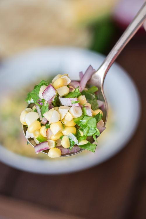 Easy Corn & Collard Green Salsa Recipe - No Diets Allowed #Food #Foodie