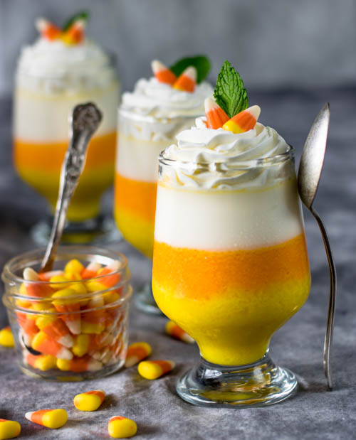 Candy Corn Vanilla Layered Panna Cotta Dessert Recipe - No Diets Allowed #Food #Foodie