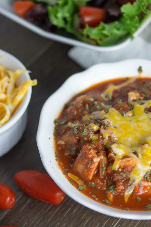 Easy Simple Leftover Turkey Chili Recipe - No Diets Allowed #Turkey #Food #Foodie