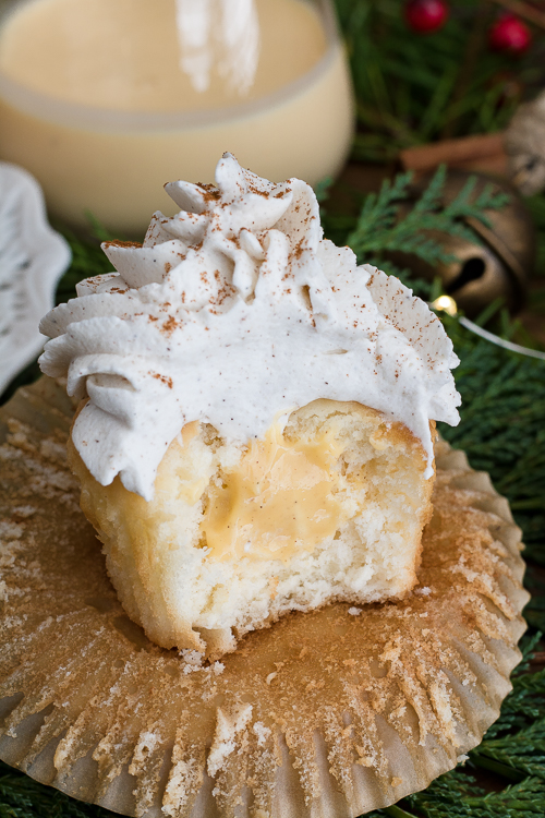 Easy Eggnog Cupcake Recipe from Scratch - No Diets Allowed #Food #Foodie #Eggnog
