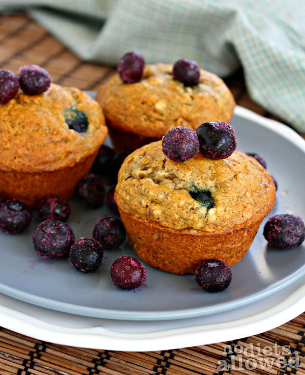 healthy blueberry muffins- No Diets Allowed