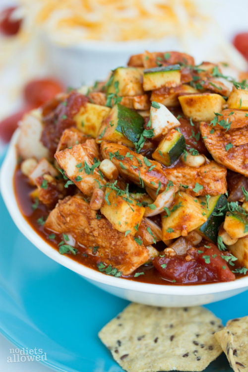 spicy chicken tortilla soup - No Diets Allowed