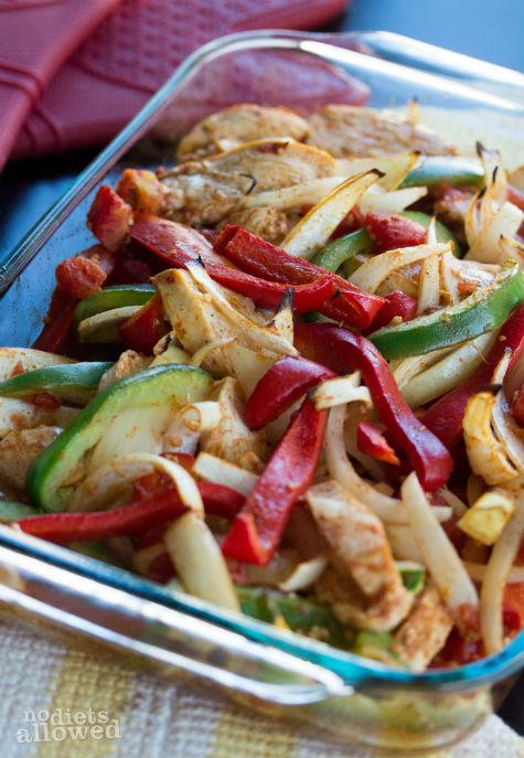 baked chicken fajitas- No Diets Allowed