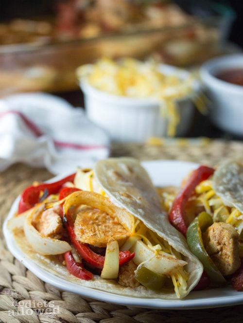 oven baked chicken fajitas- No Diets Allowed