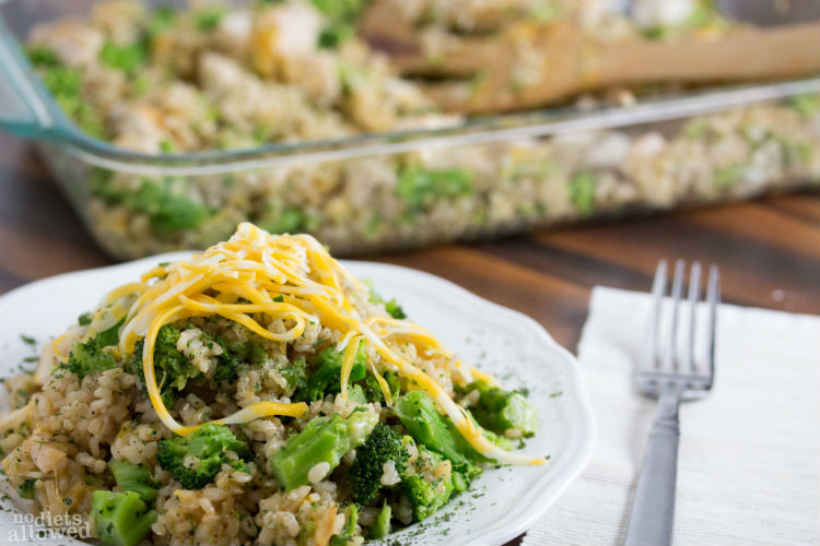 chicken broccoli cheese rice casserole - No Diets Allowed