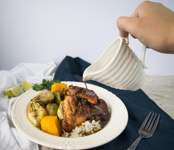 Honey Garlic Glazed Chicken Thighs - No Diets Allowed #Food #Foodie #Chicken