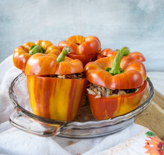 Farro Stuffed Peppers - No Diets Allowed #Food #Foodie #StuffedPeppers
