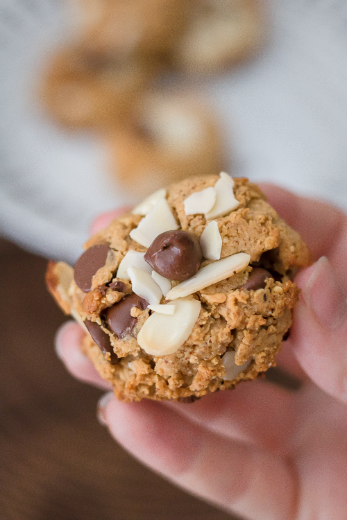 Almond Butter Chocolate Chip Cookies Recipe - No Diets Allowed #Food #Foodie #Cookies