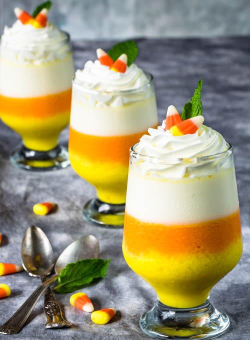 Candy Corn Vanilla Layered Panna Cotta Dessert Recipe - No Diets Allowed #Food #Foodie