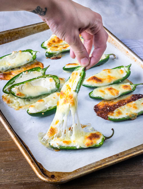 Easy Low Carb Baked Jalapeno Poppers Recipe - No Diets Allowed #Food #Foodie
