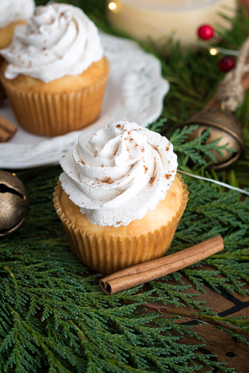 Easy Eggnog Cupcake Recipe from Scratch - No Diets Allowed #Food #Foodie #Eggnog