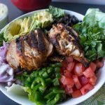 A southwest chicken salad recipe from No Diets Allowed with chopped vegetables