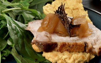 Sweet Potato Biscuit with Pork tenderloin and apple chutney